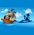 pirate ship with island silhouette vector image