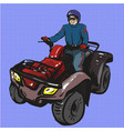 pop art man riding quad vector image vector image
