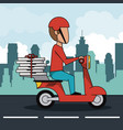 poster city landscape with fast pizza delivery man vector image vector image