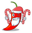 santa with candy red chili pepper isolated on vector image vector image