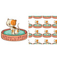 seamless background design with cute cat in the vector image vector image