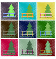 set of flat icons in shading style fenced spruce vector image