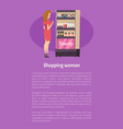 shopping woman near beauty cosmetics stand poster vector image vector image