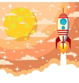Silhouette of a rocket on the moon background vector image vector image