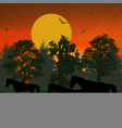 silhouettes of horses vector image vector image