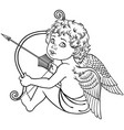 sitting cupid black and white vector image vector image