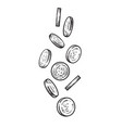 sketch falling coins vector image vector image