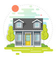 small house and landscape day scene background vector image vector image