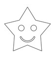 smiling star black color path icon vector image