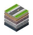 soil layers cross section geological transport vector image