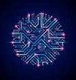 sparkling circuit board circle digital vector image vector image