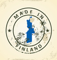 Stamp with map flag of Finland vector image vector image