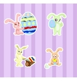stickers with rabbits vector image vector image