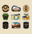 vintage camp patches logos mountain badges set vector image
