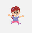 white girl with glasses running terrified vector image