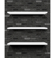 White shelves on brick wall vector image vector image