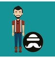 young hipster man bowler hat and mustache vector image