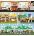 set of aged people posters banners in flat vector image