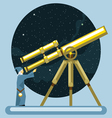 Ancient mag looking into a telescope and pointing vector image