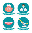 dental icons with doctor smile teeth and vector image