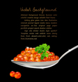 red caviar with parsley and a spoon on a black bac vector image