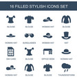 16 stylish icons vector image vector image