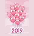 2019 year pig funny poster vector image