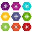 ancient compass icon set color hexahedron vector image
