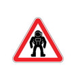 astronaut warning sign red cosmonaut hazard vector image vector image