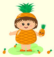 baby in a pineapple costume vector image vector image