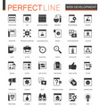 black classic seo and development icons set vector image vector image