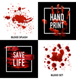Blood Splatters 4 Icons Square Concept vector image