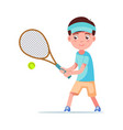 boy tennis player beat ball with a racket vector image vector image