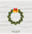 christmas wreath of pine tree branches vector image vector image