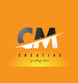cm c m letter modern logo design with yellow vector image vector image
