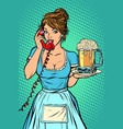 delivery hotel service waitress mug of beer vector image