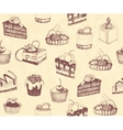 dirty seamless background with sketches cakes vector image vector image