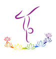 Emblem Yoga pose with chakra lotuses on grayscale vector image vector image