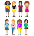 Faceless young ladies vector image vector image
