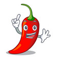 finger red chili pepper isolated on mascot vector image vector image