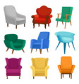 flat set of armchairs vintage and modern vector image vector image