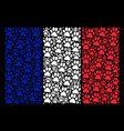french flag pattern of paw footprint icons vector image