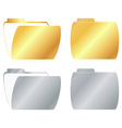 gold and silver open and closed folder icon vector image vector image