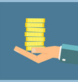 hand holding stack of coins vector image vector image