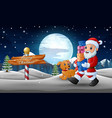 happy santa claus walks and holding gift boxes wit vector image