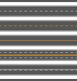 horizontal straight seamless roads modern asphalt vector image vector image