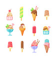 ice cream summer tasty snack cartoon vector image vector image
