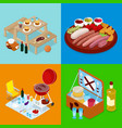 isometric bbq picnic food summer holiday camp vector image vector image