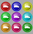 Jeep icon sign symbol on nine round colourful vector image vector image