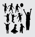 Kid playing silhouettes vector image vector image